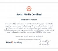 Webiance - Social Media Certification