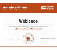 Webiance - SEO Fundamentals Certification