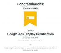 Webiance - Google Ads (Display) Certification