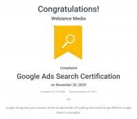 Webiance - Google Ads Search Certification